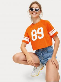 Sporty Letter and Striped Regular Fit Round Neck Short Sleeve Pullovers Orange Crop Length Letter Print Tee