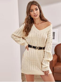 Casual Plain Straight Regular Fit V neck Long Sleeve Regular Sleeve Pullovers Natural Beige and Pastel Mini Length Drop Shoulder Cable Knit Sweater Dress Without Belt