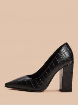 Glamorous Crocodile Black High Heel Chunky Croc Embossed Point Toe Chunky Heels