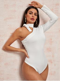 Elegant Plain Regular Asymmetrical Neck Long Sleeve White Asymmetrical Neck Knotted Detail Bodysuit