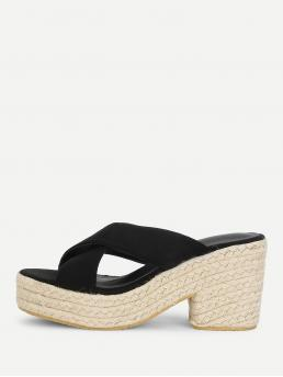Corduroy Black Mules Spiked Cross Cross Wedge Sandals Clearance