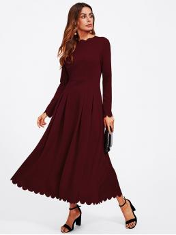 Elegant A Line Plain Flared Regular Fit Round Neck Long Sleeve High Waist Burgundy Long Length Scallop Trim Box Pleat Flowy Dress