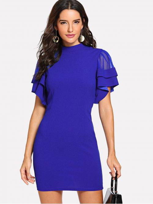 Navy Blue Plain Tiered Layer Stand Collar Layered Flutter Sleeve Buttoned Keyhole Back Dress on Sale