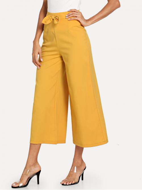 Casual Plain Wide Leg Loose Zipper Fly Mid Waist Yellow Cropped Length Bow Front Zip Up Side Wide Leg Pants