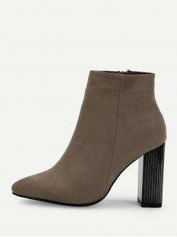 Other Point Toe Side zipper Brown High Heel Chunky Block Heeled Ankle Boots