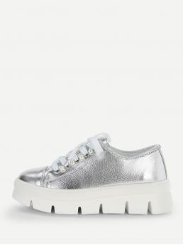 Round Toe Plain Flatform Silver Faux Pearl Detail Lace-up Chunky Sneakers