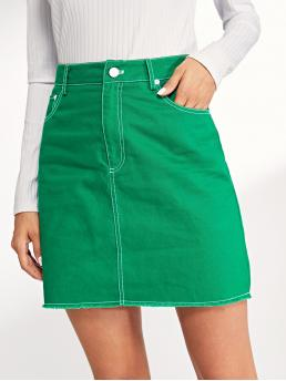 Casual A Line Letter Mid Waist Green Above Knee/Short Length Contrast Stitch Split Skirt