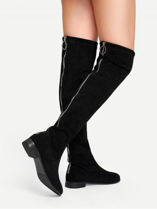Velvet Black Stretch Boots Button Solid Knee Length Boots on Sale