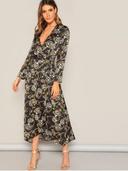 Boho A Line Leopard and Chain Print Flared Regular Fit Deep V Neck Long Sleeve Regular Sleeve Natural Multicolor Maxi Length Surplice Wrap Knot Chain Print Dress with Belt