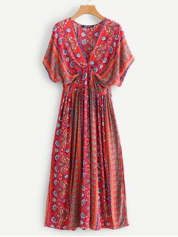 Clearance Multicolor Tribal Twist V Neck Floral Print Plunging Kimono Dress