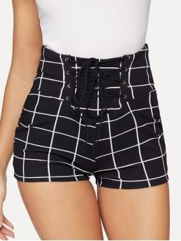 Casual Plaid Skinny Mid Waist Black Lace Up Front Grid Skinny Shorts