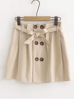 Casual A Line Plain High Waist Khaki Above Knee/Short Length Double Button Front Belted Skirt with Belt