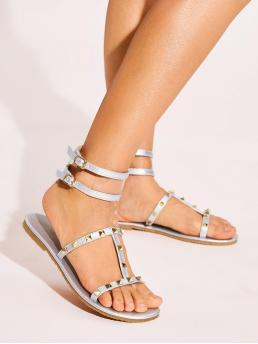 Glamorous Open Toe Ankle Strap Silver Studded Decor Ankle Strap Sandals