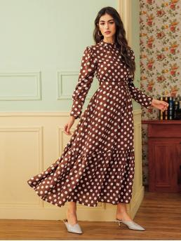Elegant A Line Polka Dot Flounce Regular Fit Stand Collar Long Sleeve Puff Sleeve High Waist Brown Long Length Polka Dot Stand Collar Belted Flounce Hem Dress with Belt
