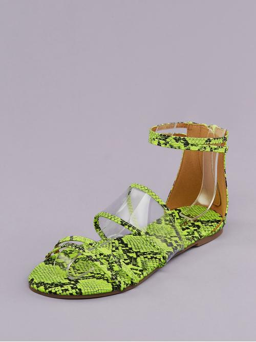 Discount Polyester Lime Green Strappy Sandals Embroidery Neon Snakeskin Pvc Bands Gladiator Sandals