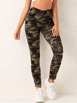 Fashion Multicolor Wrap Regular Camo Overlap Wide Waistband Leggings