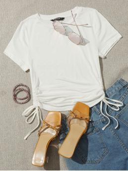 Short Sleeve Cami Drawstring Rayon Side Solid Tee on Sale