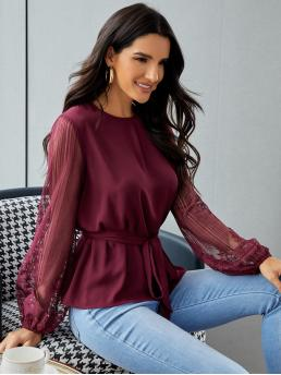 Long Sleeve Top Button Polyester Sheer Mesh Sleeve Top on Sale