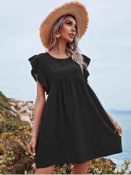 Clearance Black Plain Ruffle Round Neck Solid Cuff Dress
