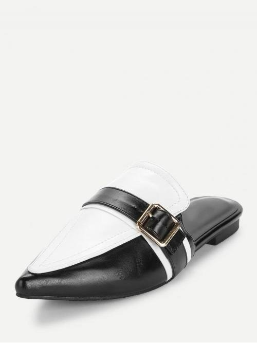 Corduroy Black and White Mules Buckle Pointed Toe Contrast Flat Shopping