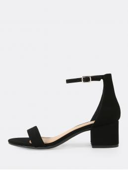 Business Casual Open Toe Ankle Strap Black Mid Heel Chunky Nubuck Ankle Strap Low Heel Sandals