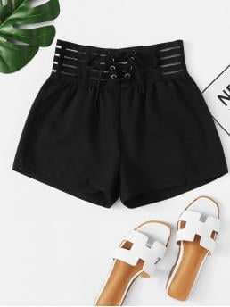 Casual Plain Regular Drawstring Waist Mid Waist Black Solid Lace Up Shorts