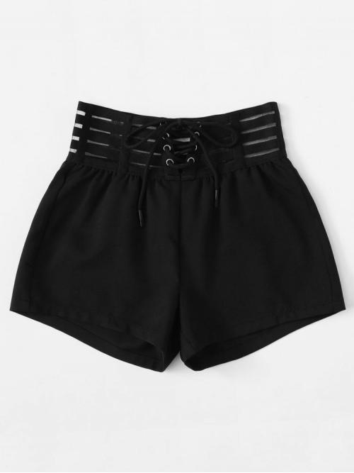 Women's Black Natural Waist Lace up Straight Leg Solid Shorts