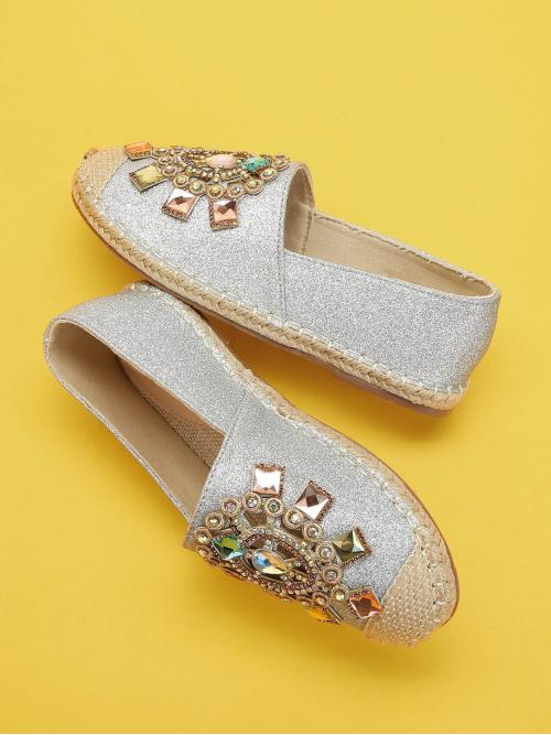 Womens Corduroy Silver Mules Rhinestone Decorated Glitter Flats