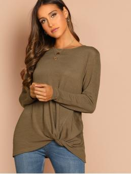 Casual Plain Regular Fit Round Neck Long Sleeve Pullovers Army Green Longline Length Twist Hem Solid Tee