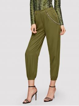 Casual Plain Tapered/Carrot Regular Zipper Fly Mid Waist Green Long Length Elastic Hem Crop Pants With Chain