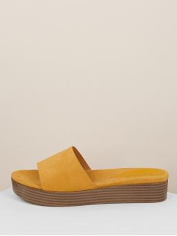 Open Toe Yellow Wide Band Slide Footbed Flatform Sandals