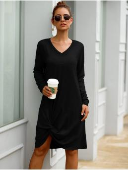 Casual Tee Plain Asymmetrical Regular Fit V neck Long Sleeve Regular Sleeve Natural Black Midi Length Solid V Neck Twist Hem Dress