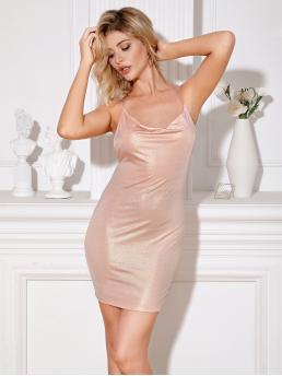 Glamorous and Sexy Bodycon Plain Pencil Slim Fit Halter Sleeveless Natural Pink and Pastel Short Length Double Crazy Criss-cross Backless Metallic Cami Dress