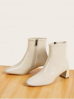 Business Casual Other Square Toe Side zipper Beige Mid Heel Chunky Side Zip Chunky Heeled Ankle Boots