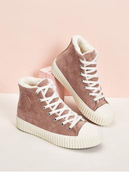Comfort Round Toe Plain Pink Faux Fur Lined Lace Up Sneakers
