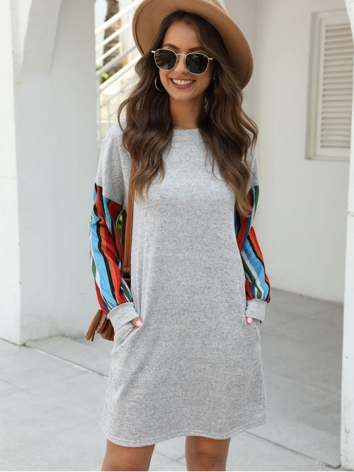 Casual Tee Striped Straight Regular Fit Round Neck Long Sleeve DropShoulder Natural Grey Short Length Contrast Panel Striped Tunic Dress