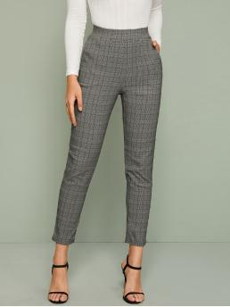 Elegant Tapered/Carrot Plaid Regular Elastic Waist High Waist Grey Cropped Length Slant Pocket Plaid Cigarette Pants