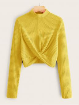 Casual Plain Asymmetrical Slim Fit Stand Collar Long Sleeve Regular Sleeve Pullovers Yellow and Bright Crop Length Neon Yellow Mock-Neck Twist Hem Top