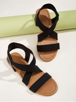 Comfort Open Toe Plain Ankle Strap Elastic Cross Strap Sandals