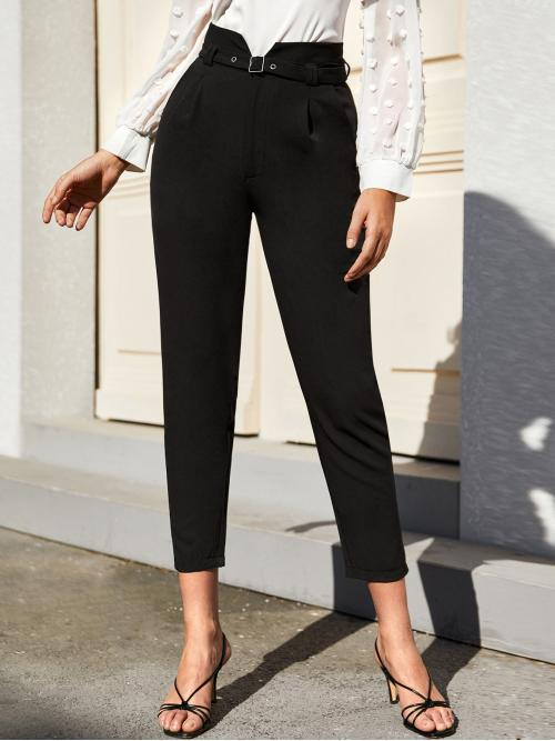 Elegant Plain Tailored Regular Zipper Fly High Waist Black Cropped Length Solid High Rise Belted Cropped Pants with Belt