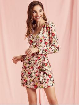 Elegant Fitted Floral Wrap Regular Fit Deep V Neck Long Sleeve Regular Sleeve Natural Multicolor Short Length SBetro Plunging Neck Wrap Draped Floral Fitted Dress