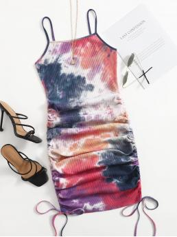 Multicolor Tie Dye Rib-knit Spaghetti Strap Drawstring Knot Ruched Side Dress Discount