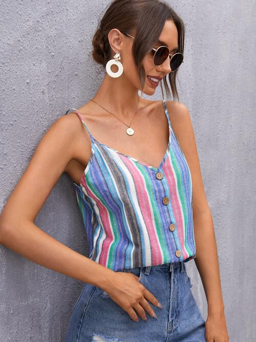 Clearance Cami Button Front Polyester Colorblock Button Detail Top
