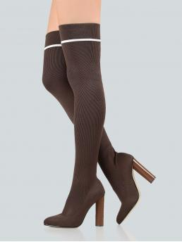 Glamorous Sock Boots Striped No zipper Coffee High Heel Stiletto Point Toe Thigh High Sock Booties KHAKI