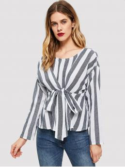 Casual Striped Top Regular Fit Round Neck Long Sleeve DropShoulder Pullovers Black and White Regular Length Two Tone Knot Front Blouse