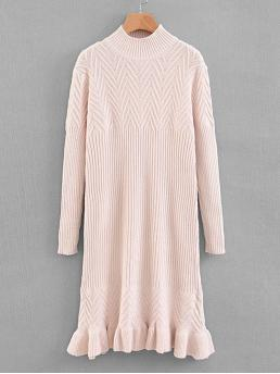 Casual Ruffle Hem Plain Dress Regular Fit High Neck Long Sleeve Pullovers Pink Longline Length Ruffle Hem Solid Sweater Dress