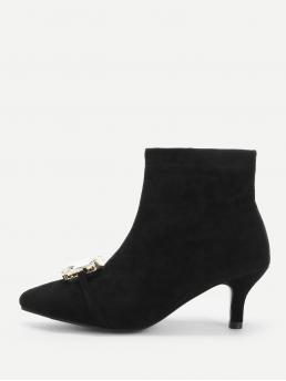 Mesh Black a Line Gemstone Solid Jewelled Boots Affordable