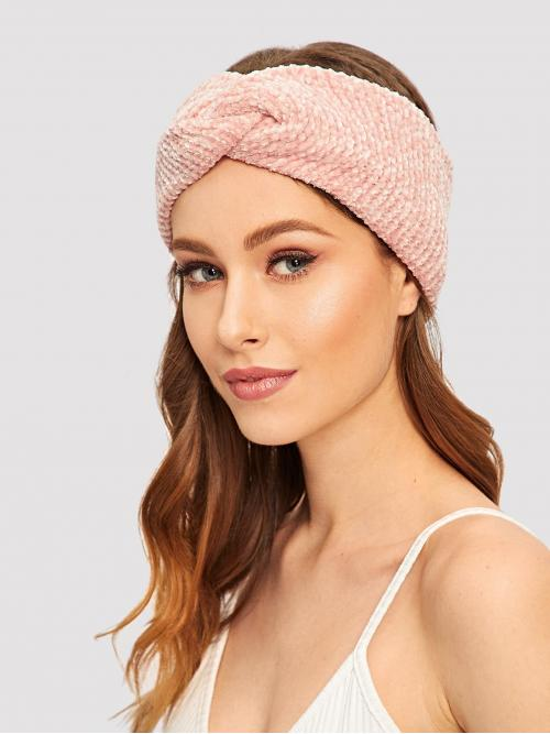 Casual Headbands Plain Pink Chenille Twist Headband