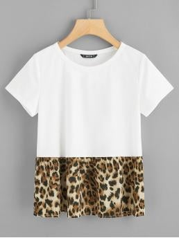 Casual Leopard Regular Fit Round Neck Short Sleeve Pullovers White Regular Length Cut-and-sew Leopard Print Tee