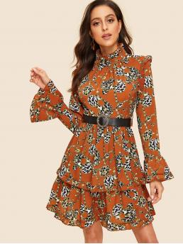 Vintage A Line Leopard and Chain Print Flounce Regular Fit Stand Collar Long Sleeve Flounce Sleeve Natural Multicolor Midi Length Leopard & Chain Print Tiered Dress With Belt with Belt